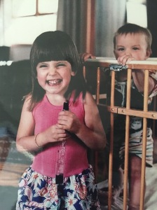 My sister being kept in a playpen for her own protection I'm sure.