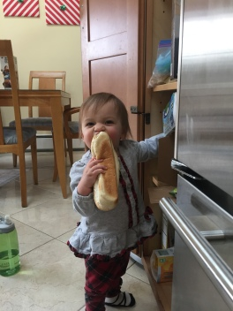 She wanted a hoagie roll for a snack, which meant less work for me. No carefully thought out and nutritious snacks for you, baby.